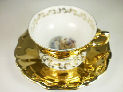 Bareuther German Courting Couple Gold Demitasse Duo