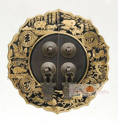 Furniture Brass Hardware Chinese Cabinet Face Plate Door Handle Copper 5.5""