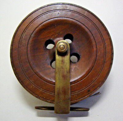 """Antique brass and wood  6"""" fishing reel"""