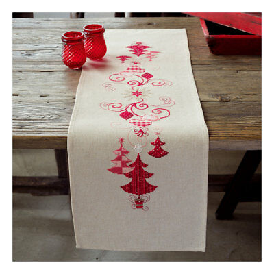Embroidery Kit Runners Christmas Decks Stitched on Cotton Fabric 40 x 100cm