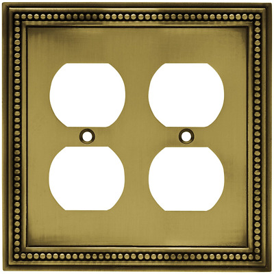 Brainerd 64767Beaded Double Duplex Outlet Wall Plate/Cover,Tumbled Antique Brass