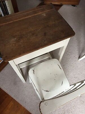 Retro Style Old School Desk. Brilliant Condition With Matching Chair