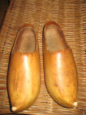 Antique Dutch Hand Carved Wooden Shoes Clogs Small Size 6