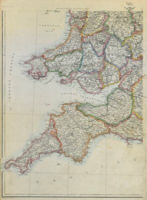 SOUTH WEST ENGLAND & S. WALES. Devon Cornwall Somerset. WELLER 1862 old map