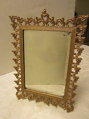 """Antique Gild Cast Iron Beveled Vanity Mirror tin back w/ easel Victorian 14"""" T"""