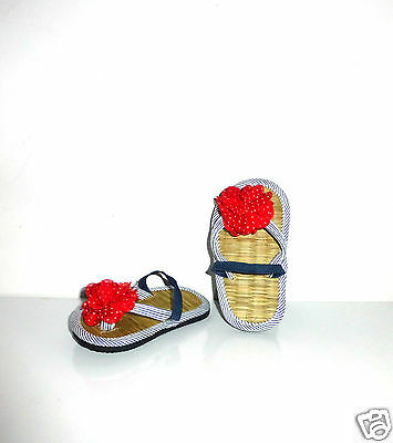 1330b18300c0b Girl s Flip Flops with Elasticated Heel Strap- Red Flower Decoration -Infant  8