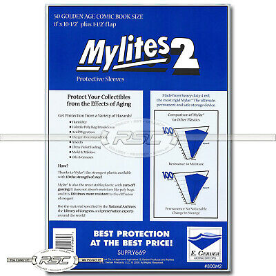50 - Mylites 2 Golden Age 2-Mil Mylar Comic Book Bags by E. Gerber - 800M2
