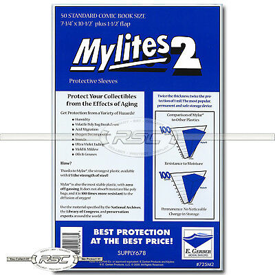 Mylites 2 Standard 2-Mil Mylar Comic Book Bags by E. Gerber (725M2) - Pack of 50