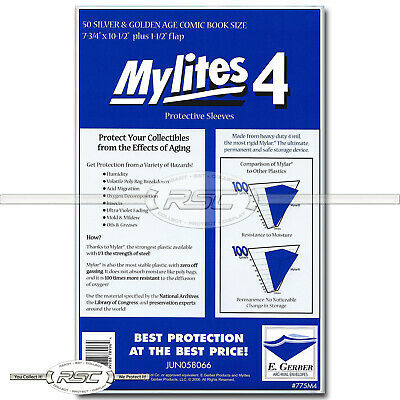 50 - E. GERBER MYLITES 4 SILVER & GOLDEN AGE 4-Mil Mylar Bags Sleeves 775M4