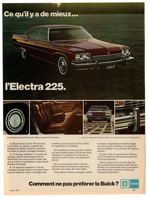 1973 BUICK Electra 225 Vintage Original Print AD - Brown car 4-door photo french