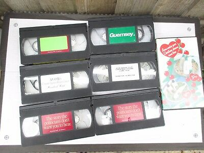 6 VHS PRE RECORDED TAPES- Avon, political,Guernsey- short tapes