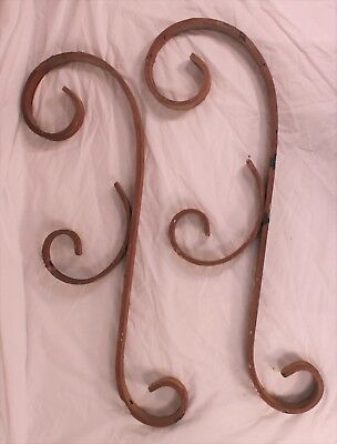 "Vintage Porch Rail Scrolls Wrought Iron 26"" x 8"" - Rustic Pair"