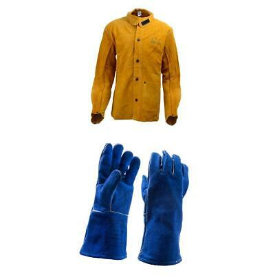 4 Sizes M- XXL Leather Welding Shirt Jacket and Gloves Blue