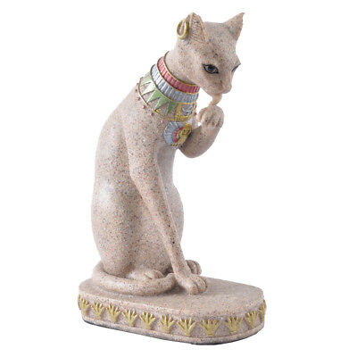 Sandstone Egyptian Mau Cat Statue Sculpture Hand Carved Collectible Figurine