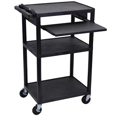 Luxor LP42LE-B 3-Shelf Black Endura Presentation Cart w/ Pull Out Shelf
