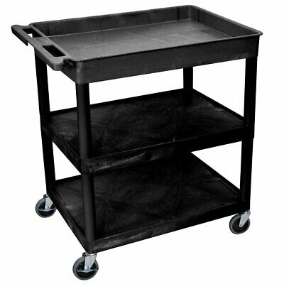 Luxor TC122-B 3-Shelf Black Large Tub/Flat Middle/Bottom Utility Cart
