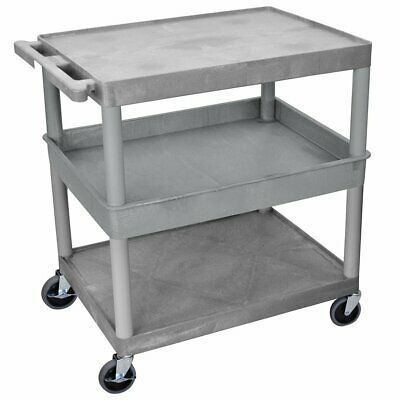 Luxor TC212-G 3 Shelf Gray Large Tub/Flat Top/Bottom Rolling Utility Cart
