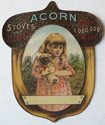 Antique 1880's Victorian Era Acorn Stoves & Ranges Girl & Puppy Litho Card