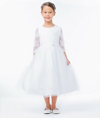 New White Lace Girls 3/4 Sleeve Dress First Communion Wedding Formal Elegant 643