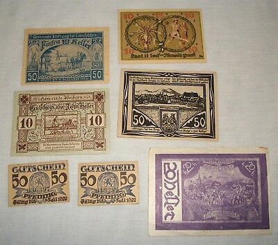 Vintage Foreign Note Currency Lot Heller Pfennig etc