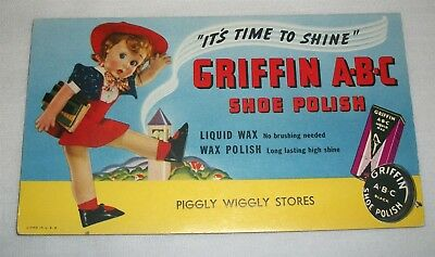 Vintage Advertising Ink Blotter Griffin ABC Shoe Polish Piggly Wiggly Stores