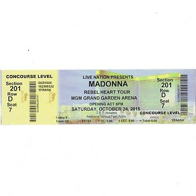 MADONNA Concert Ticket Stub LAS VEGAS NV 10/24/15 MGM GRAND GARDEN REBEL HEART