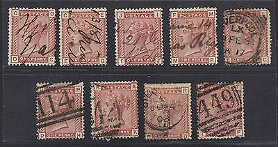 UK GB 1880s SG 166 1 PENNY VENETIAN RED x14 SOME TIED ON PIECES ONE REGISTERED