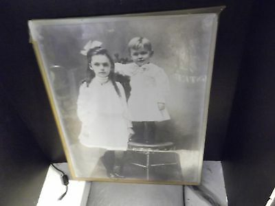 """VINTAGE EARLY 1900's LARGE 16"""" X  20"""" PHOTOGRAPH OF TWO CHILDREN"""