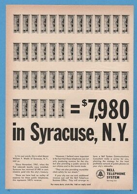 1964 Bell Telephone Phone Booth Syracuse NY New York Vintage 1960's Print Ad