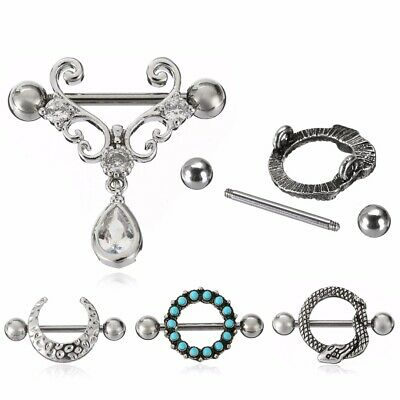 14G Stainless Steel CZ Turquoise Moon Bar Barbell Nipple Ring Piercing