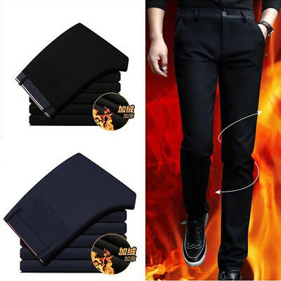 6873 Men's winter Thick Thermal Fleece lined elastic Pants cotton Warm Trousers
