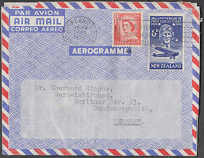 New Zealand Auckland 1959 Air Letter To Germany With 2 Values Uncommon