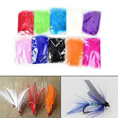 100X Colors Turkey Bugger Feather For Fly Tying Material Lure Bait Making MO