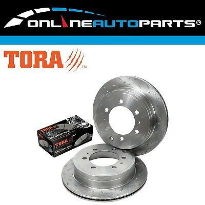 Rear Disc Rotors + Brake Pads Slotted + Drilled suits Prado 120 Series 4x4 02~09