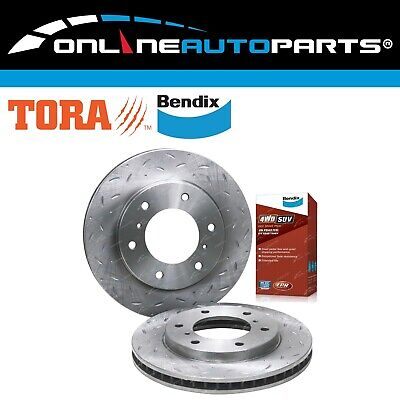 Front Slotted & Dimpled Disc Brake Rotors + Bendix 4WD Pads Triton ML MN 2007~16