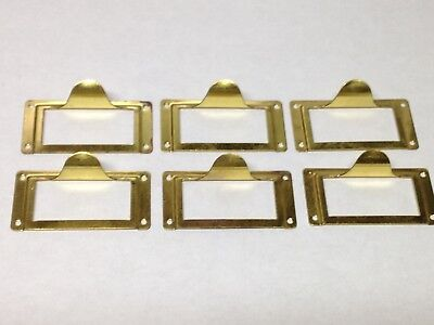 6 Vintage Brass File Cabinet Label Holder Drawer Pull Parts