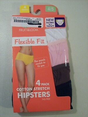 14e361b23cba New Women's Fruit Of The Loom 4 Pack Cotton Stretch Flex Hipsters Panties  Sz 4-