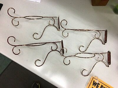 lot of 4 Vintage Antique French Country Wire Ware Plant Holder Wall Mount hinged