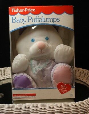 1988 Fisher Price Baby Puffalumps Pet Bear With Rattle New In Box Purple & Pink