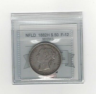 **1882H**, Coin Mart Graded, Newfoundland  Silver $.50 Cent,**F-12 Marks**