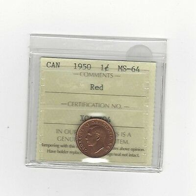 **1950**ICCS Graded Canadian Small One Cent, **MS-64**