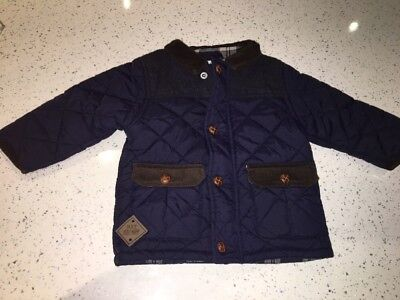 Baby Boys Next Navy Blue Quilted Jacket Coat Age 9-12 Months Vgc