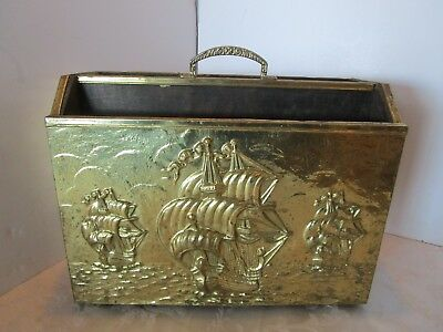 "Vintage Brass Embossed Hammered Relief Magazine Rack 3 Sailing Ships Wood 14.5""L"