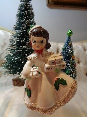Vintage Relco Christmas Shopper Holly Girl figurine