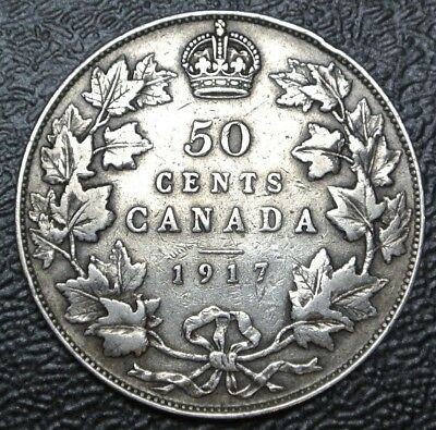 OLD CANADIAN COIN 1917 - 50 CENTS HALF DOLLAR - .925 SILVER-George V-Nice DETAIL