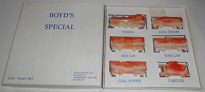 BOYD'S Art Glass Special TRAIN SET in BOX 6 Piece Set Vanilla Coral Slag