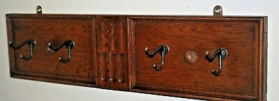 Wooden Antique Vintage Arts & Crafts Coats Rack Wall Hooks Solid Oak Wood