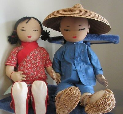 "19"" Ada Lum Hong Kong Vintage Chinese Girl & Farmer Boy Dolls  All Original"