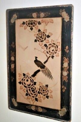 Vintage Pape Mache Lacquered Panel/Table Top Oriental Japanese/Chinese Birds Old