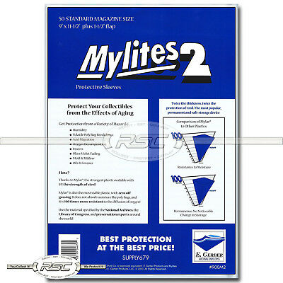 50 - Mylites 2 Standard Magazine Time & SI 2-Mil Mylar Bags by E. Gerber - 900M2